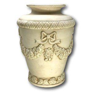 Antique Washed Bisque Pottery Raised Design Urn